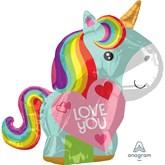 Unicorn Shape Love You Foil Balloon