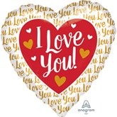 "I Love You Gold Jumbo 28"" Foil Heart Balloon"
