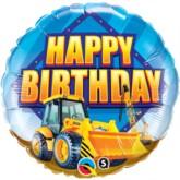 "18"" Happy Birthday Digger Foil Balloon"