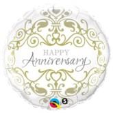 "18"" Happy Anniversary Silver & Gold Foil Balloon"