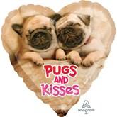 "Avanti Pugs & Kisses 18"" Heart Foil Balloon"