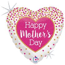 """Glitter Holo Confetti Mother's Day 18"""" Foil Balloon"""
