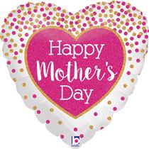 "Glittering Heart Mother's Day 18"" Foil Balloon"