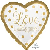 """Gold Wedding Love 18"""" Heart Foil Balloon"""