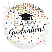 """Happy Graduation Holographic Confetti 18"""" Foil Balloon"""