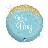 "Blue It's A Boy Holographic Confetti 18"" Foil Balloon"