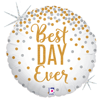 """Glittering Best Day Ever Holographic 18"""" Foil Balloon"""