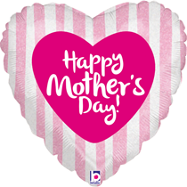 """Mother's Day Pink Stripes Heart 18"""" Foil Balloon"""