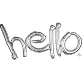 """Silver Hello Freestyle 33"""" Foil Letters Balloon"""