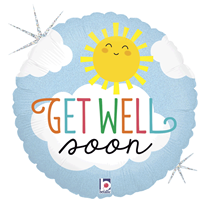 """Holographic Get Well Soon 18"""" Foil Balloon"""