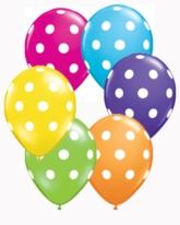 "Tropical Assorted Polka Dot 5"" Latex Balloons 100pk"