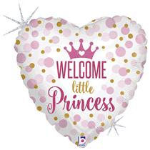"Holographic Little Princess 18"" Heart Foil Balloon"