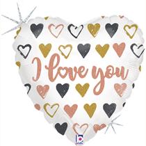 "Valentine Grabo 18"" Love You Rose Gold Heart Foil Balloon"