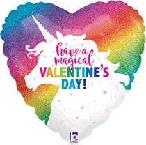 "Magical Valentine's Unicorn 18"" Heart Foil Balloon"