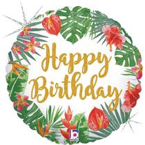 "Tropical Happy Birthday 18"" Glitter Holo Foil Balloon"
