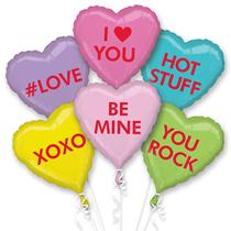 Valentine's Candy Hearts 6 Piece Foil Balloon Bouquet
