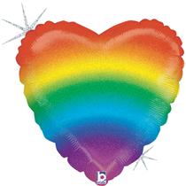 """Glitter Holographic Rainbow Heart 18"""" Foil Balloon"""