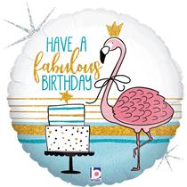"""Fabulous Flamingo Birthday 18"""" Holographic Foil Balloon"""