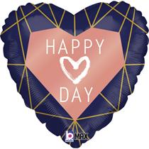 "Valentine Grabo 18"" Geo Navy Heart Foil Balloon"