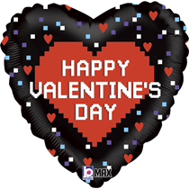 "Valentine Grabo 18"" Pixel Foil Balloon"