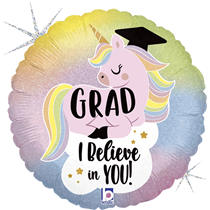 "Pastel Glitter Unicorn Graduate 18"" Foil Balloon"