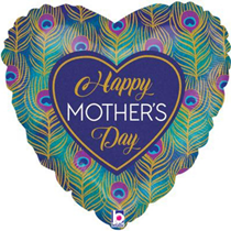 """Mother's Day Peacock Feathers 18"""" Foil Balloon"""