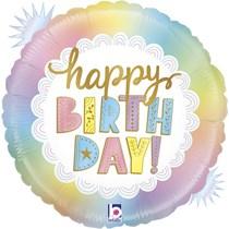 "Pastel Opal Happy Birthday 18"" Foil Balloon"