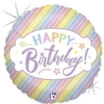 """Pastel Stripes Happy Birthday 18"""" Foil Balloon"""
