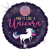 "Unicorn Disco Ball Party 18"" Foil Balloon"