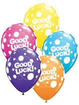 "11"" Assorted Polka Dot Good Luck Latex Balloons - 25pk"