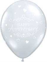 "Diamond Clear Anniversary 11"" Latex Balloons 25pk"