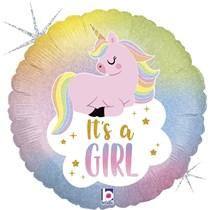 "It's A Girl Pastel Unicorn 18"" Foil Balloon"