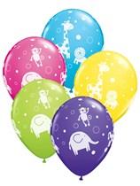 "Assorted Colour Jungle Animals 11"" Latex Balloons 25pk"