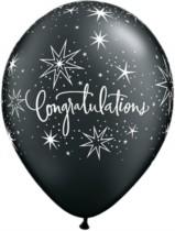 "11"" Black and Silver Congratulations Latex Balloons - 25pk"