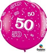 3ft Wild Berry Age 50 Latex Balloons - 2pk