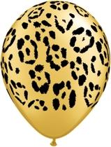 "Gold Leopard Spots Animal Print 11"" Latex Balloons 25pk"