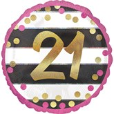 "Pink & Gold 21st Birthday 18"" Foil Balloon"