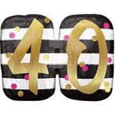 Pink & Gold 40th Birthday SuperShape Balloon