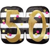 Pink & Gold 50th Birthday SuperShape Balloon