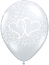 """11"""" Diamond Clear Entwined Hearts Latex Balloons - 50pk"""