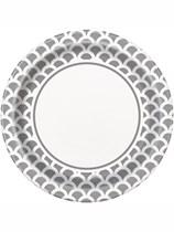 """Silver Scallop 9"""" Paper Plates 8pk"""