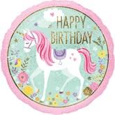 "Magical Unicorn Happy Birthday 18"" Foil Balloon"