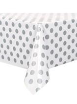 Silver Polka Dots Plastic Rectangular Tablecover