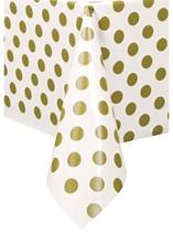 Gold Polka Dots Plastic Rectangular Tablecover