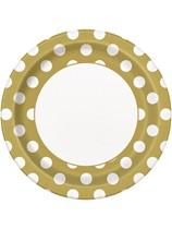"""Gold Polka Dots 9"""" Paper Plates 8pk"""