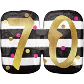 Pink & Gold 70th Birthday SuperShape Balloon