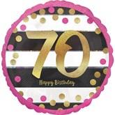 "Pink & Gold 70th Birthday 18"" Foil Balloon"