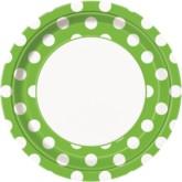 "Green Polka Dots 9"" Round Paper Plates 8pk"