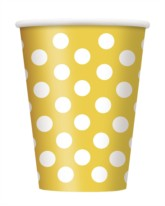 Yellow Dots 12oz Large Paper Cups 6pk