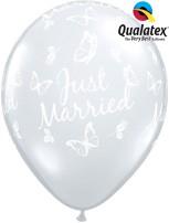 "Diamond Clear Just Married Butterflies 11"" Latex Balloons 25pk"